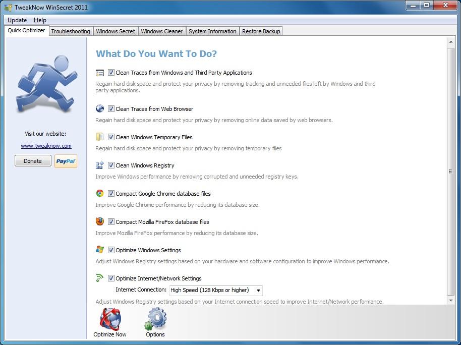 Click to view TweakNow WinSecret 2011 3.6.0000 screenshot